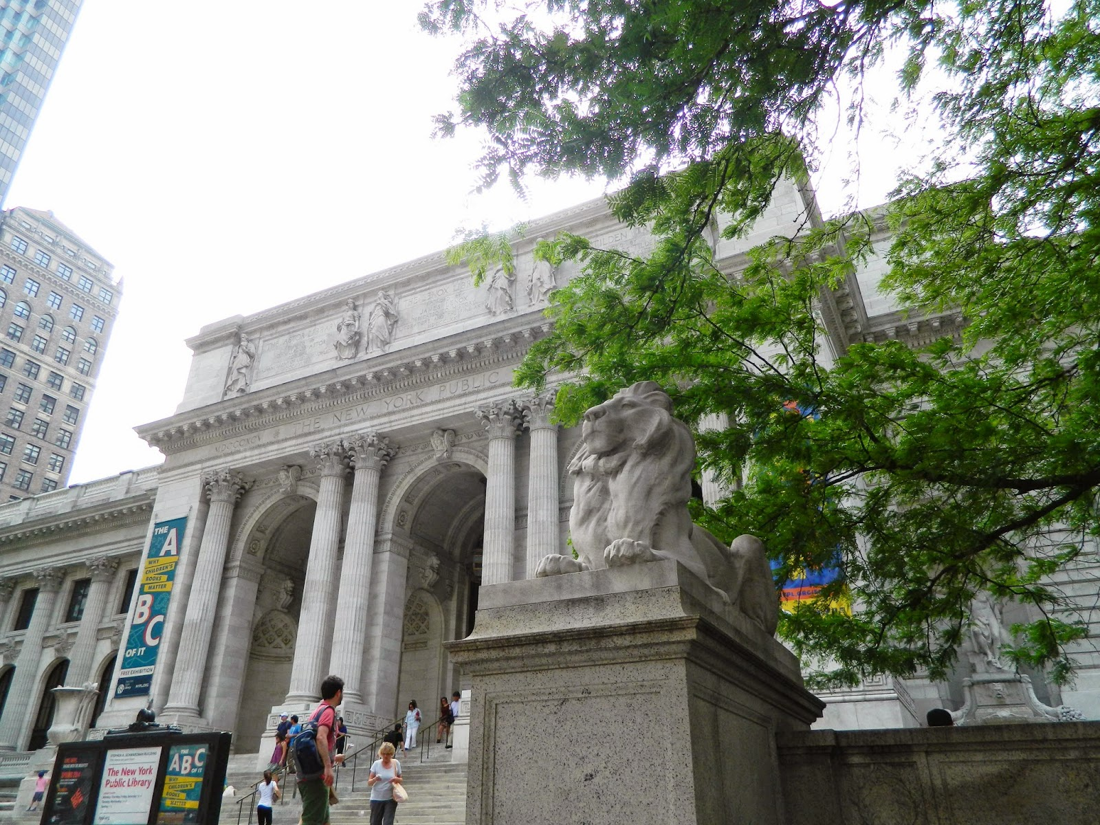 new york city Public Library outside architecture lion trees pillars