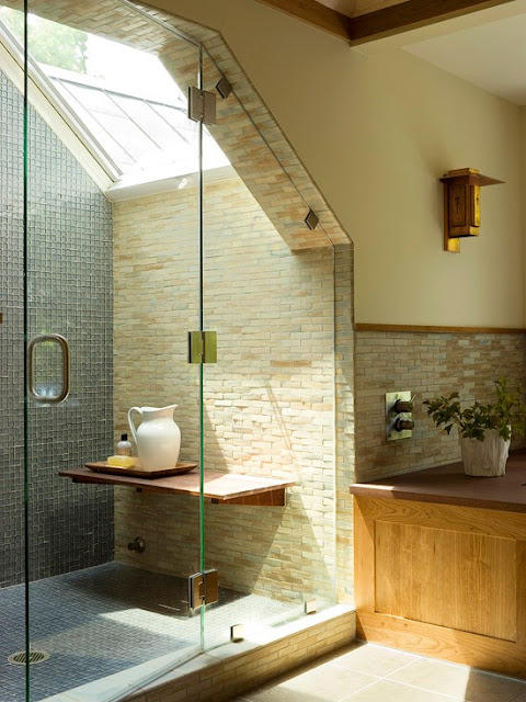 shower under a sloping ceiling