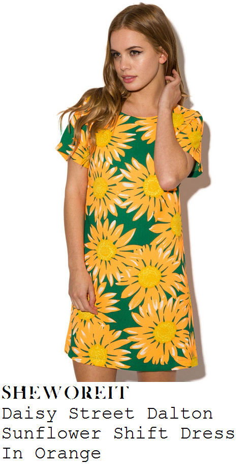 ferne-mccann-bright-orange-green-and-yellow-sunflower-floral-print-cap-sleeve-mini-dress