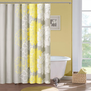 gray and yellow flower design shower curtain
