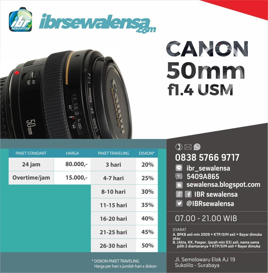 Canon 50 mm F1.4 USM Harga sewa lensa rental kamera