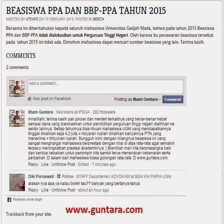 Beasiswa PPA 2015 Ditiadakan untuk PTN www.guntara.com