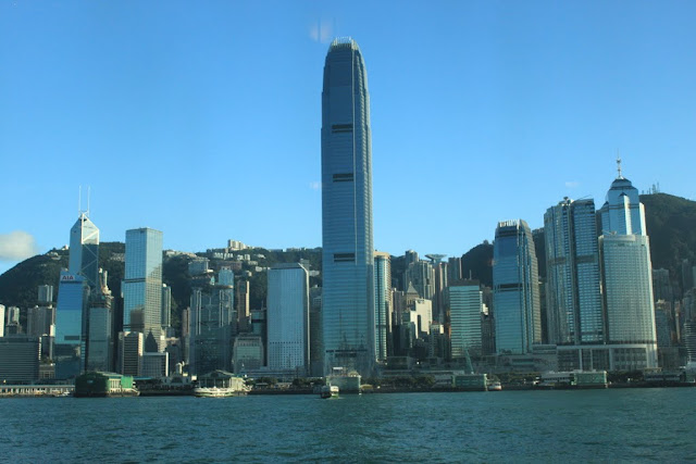 Two International Finance Centre are the identical architectural design for the  skyscapers but  one of them is the tallest building on the Hong Kong Island in Hong Kong