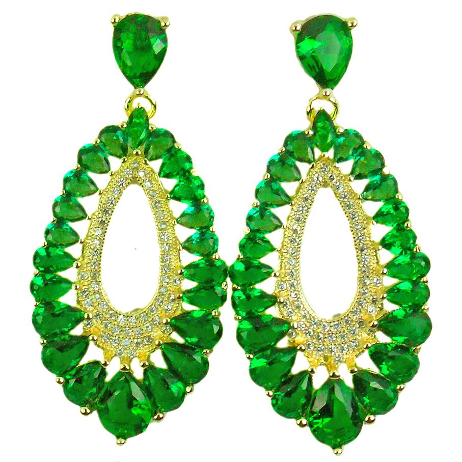 brinco de pedra verde esmeralda semijoia