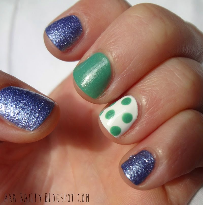 Blueberry Sweet on You Gumdrops by OPI and Mint Apple Polka Dot Nails