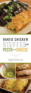 Baked Chicken Stuffed with Pesto and Cheese found on KalynsKitchen.com