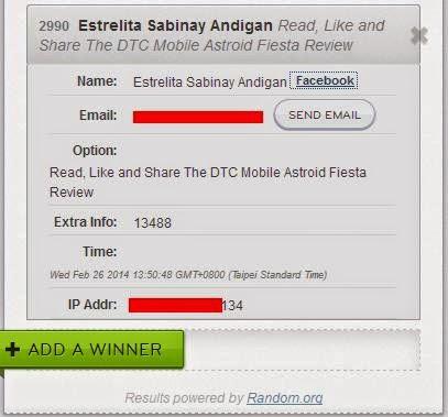 TeknoGadyet Giveaway: DTC Mobile Astroid Fiesta Winner