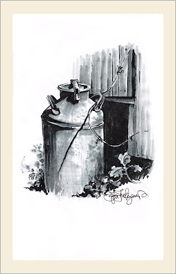 milk can, drawing with Pentel brush pens