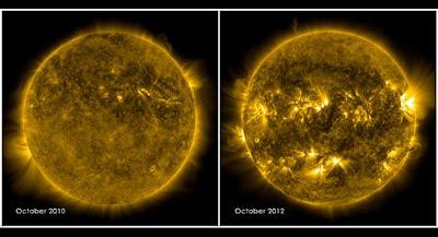 Comparación de imágenes del Sol, en octubre 2010 y Octubre 2012