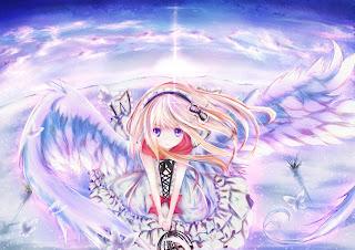 Angel Wings Cloud Sky Cute Girl Female Anime HD Wallpaper Desktop PC Background 2006