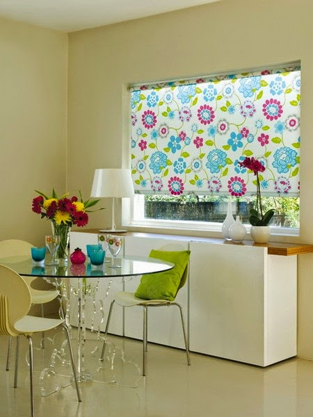 Thick Kitchen Window Curtains Blinds In Bright Colors