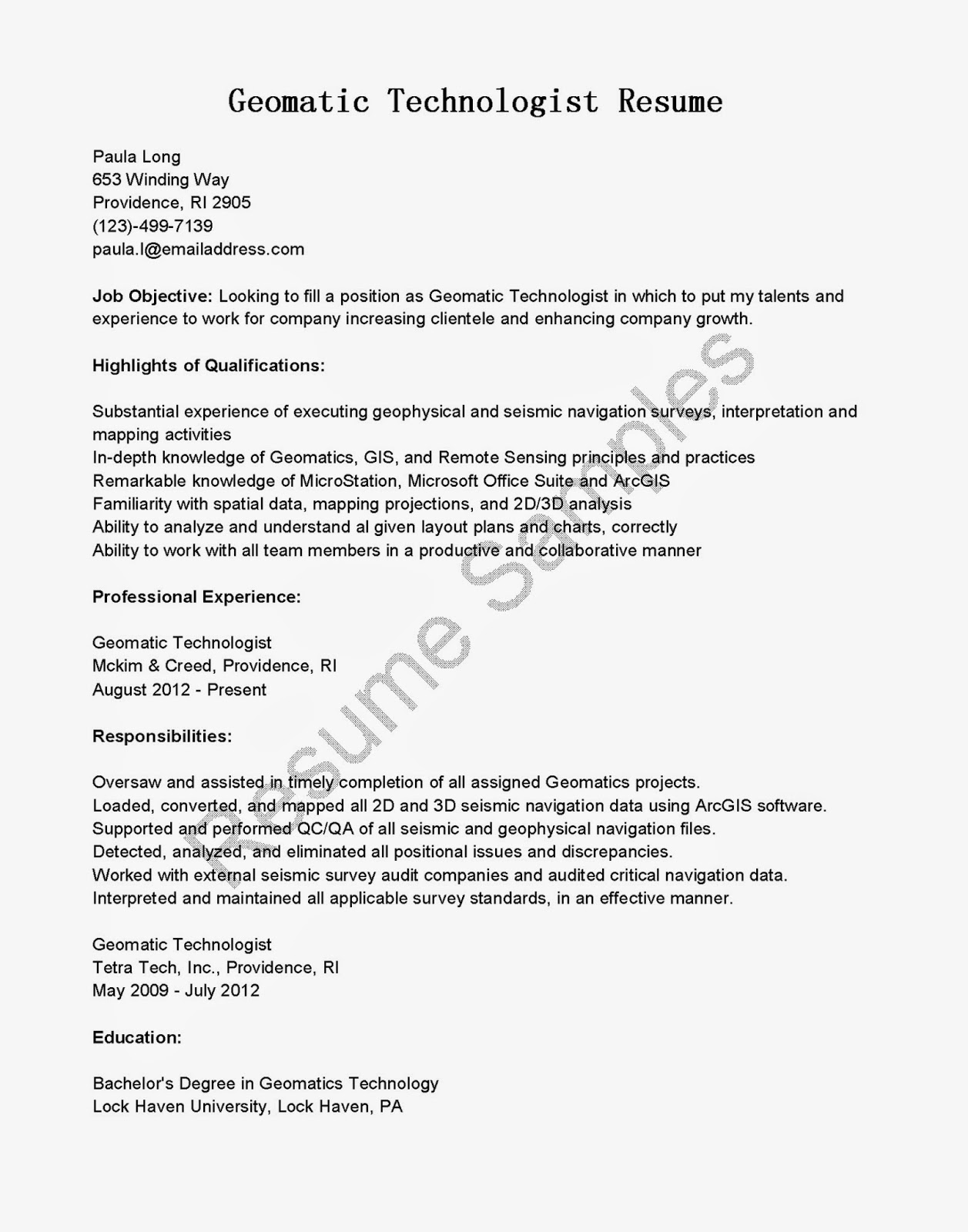 resume samples  geomatic technologist resume sample