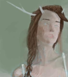 girl, portrait, antlers, digital painting
