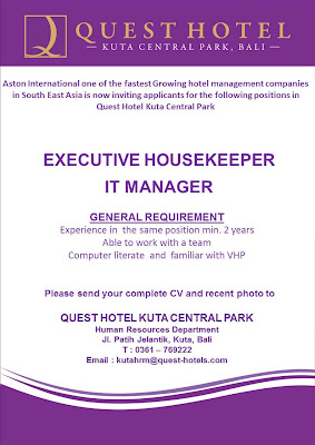 HHRMA HOTEL JOB VACANCY CAREER - Quest Kuta Central Park