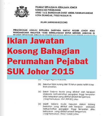Jawatan Kosong Bahagian Perumahan sukj 2015