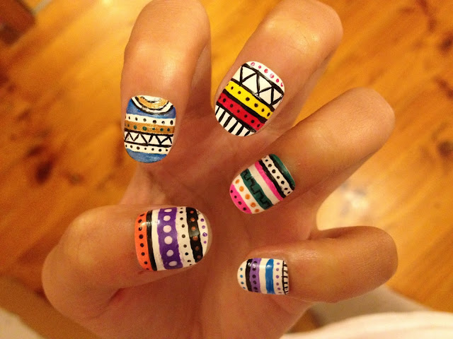 aztec nail art design, notd,summer nail art trend,simple nail art design