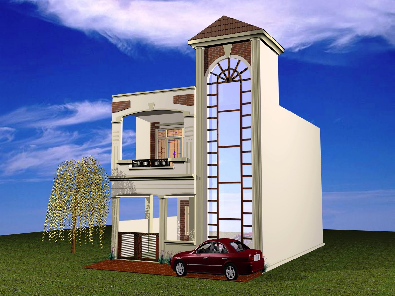 Duplex House Elevation 290 Homedesignpictures