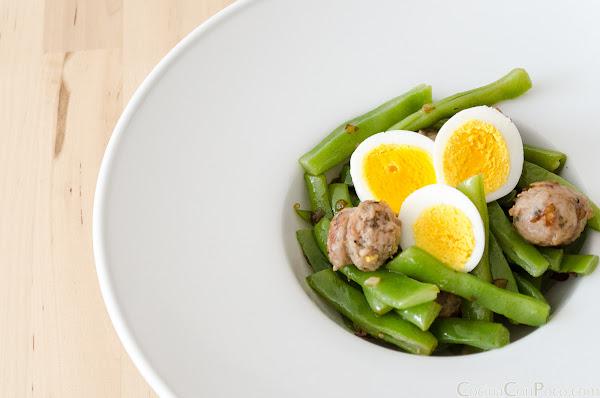 Salteado de judias verdes con longaniza - Receta facil