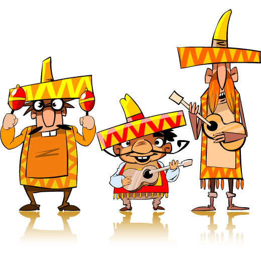 Mariachis tipo cartoon - Vector