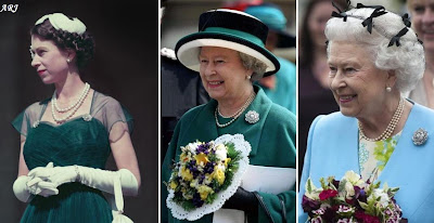 The Queen wearing the Nyzam of Hyderabad Brooches