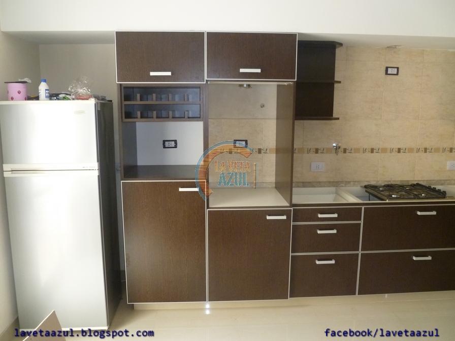 La Veta Azul: Mueble Cocina en Melamina Wengue con Cantos en Aluminio
