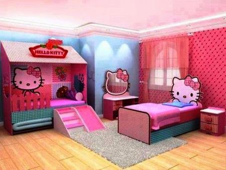 hello kitty, kamar hello kitty, boneka hello kitty, kamar cantik, kamar perempuan