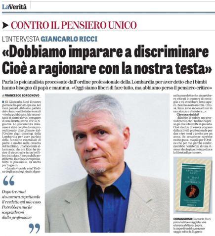 Intervista di G. Ricci su LA VERITA' del 26.1.19