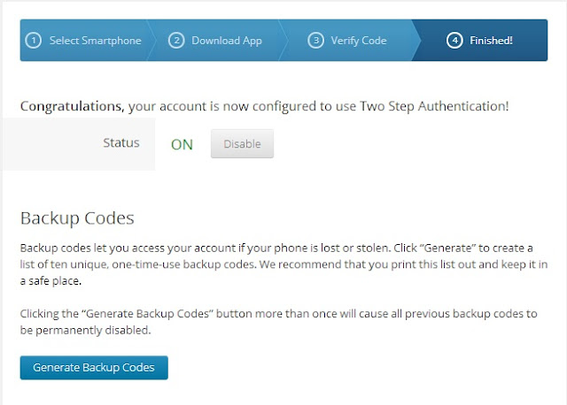 Wordpress Two Step Authentication Backup Codes