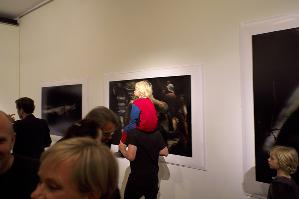 Piggy Backing past the work at the opening of Bill Henson '2012' Roslyn Oxley 9 gallery.