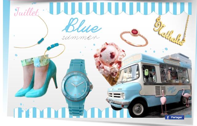 Moodboard bleu bijoux