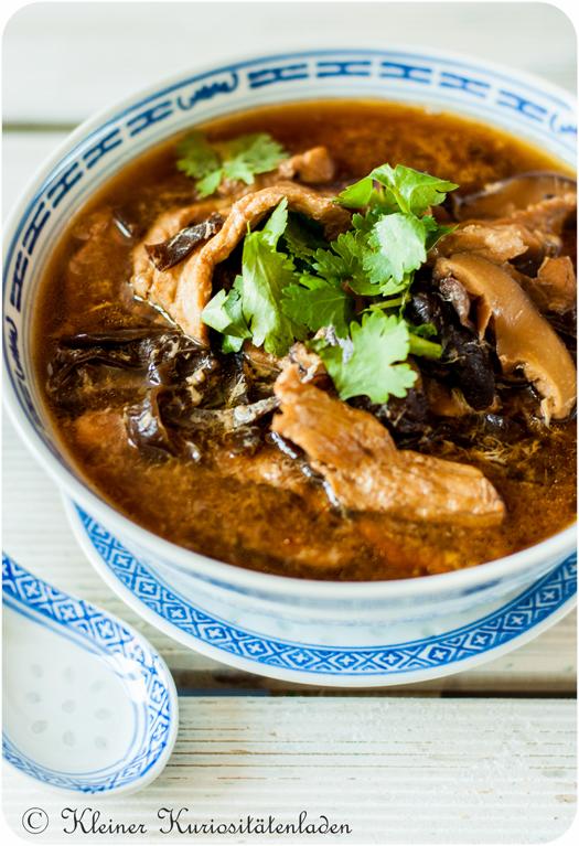 Scharf-saure Suppe mit Fleisch