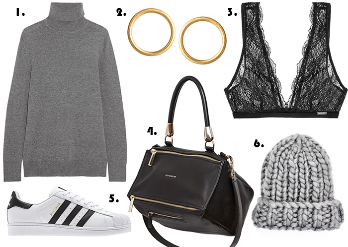 EQUIPMENT Oscar basic cashmere turtleneck sweater Maria Black Gold-plated Round Earrings Calvin Klein Laced Bra Givenchy Pandora Waxy Bag Superstar Moscow Adidas Originals Chunky Knit Beanie top Russian fashion blog