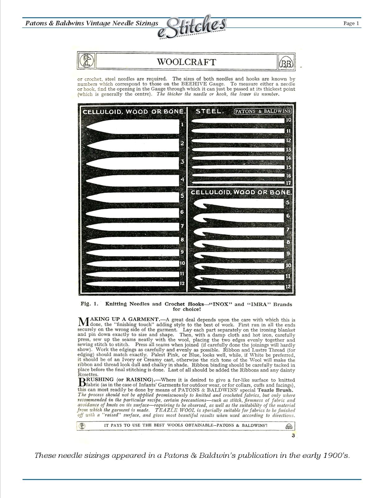Knitting Needle Size Chart Pdf : Estitched vintage needle sizes charts