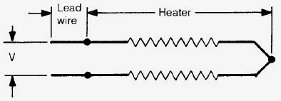 Simplified circuit diagram for a series-type resistance heater