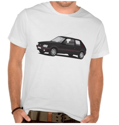peugeot 205 gti t shirt car illustrations printed on t shirts and other gifts. Black Bedroom Furniture Sets. Home Design Ideas