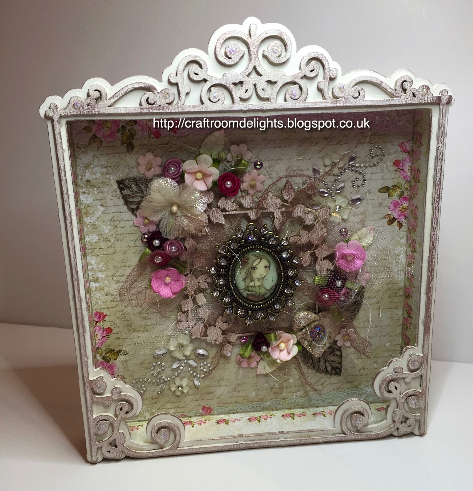 craft room delights by samantha wade shabby chic shadow box. Black Bedroom Furniture Sets. Home Design Ideas