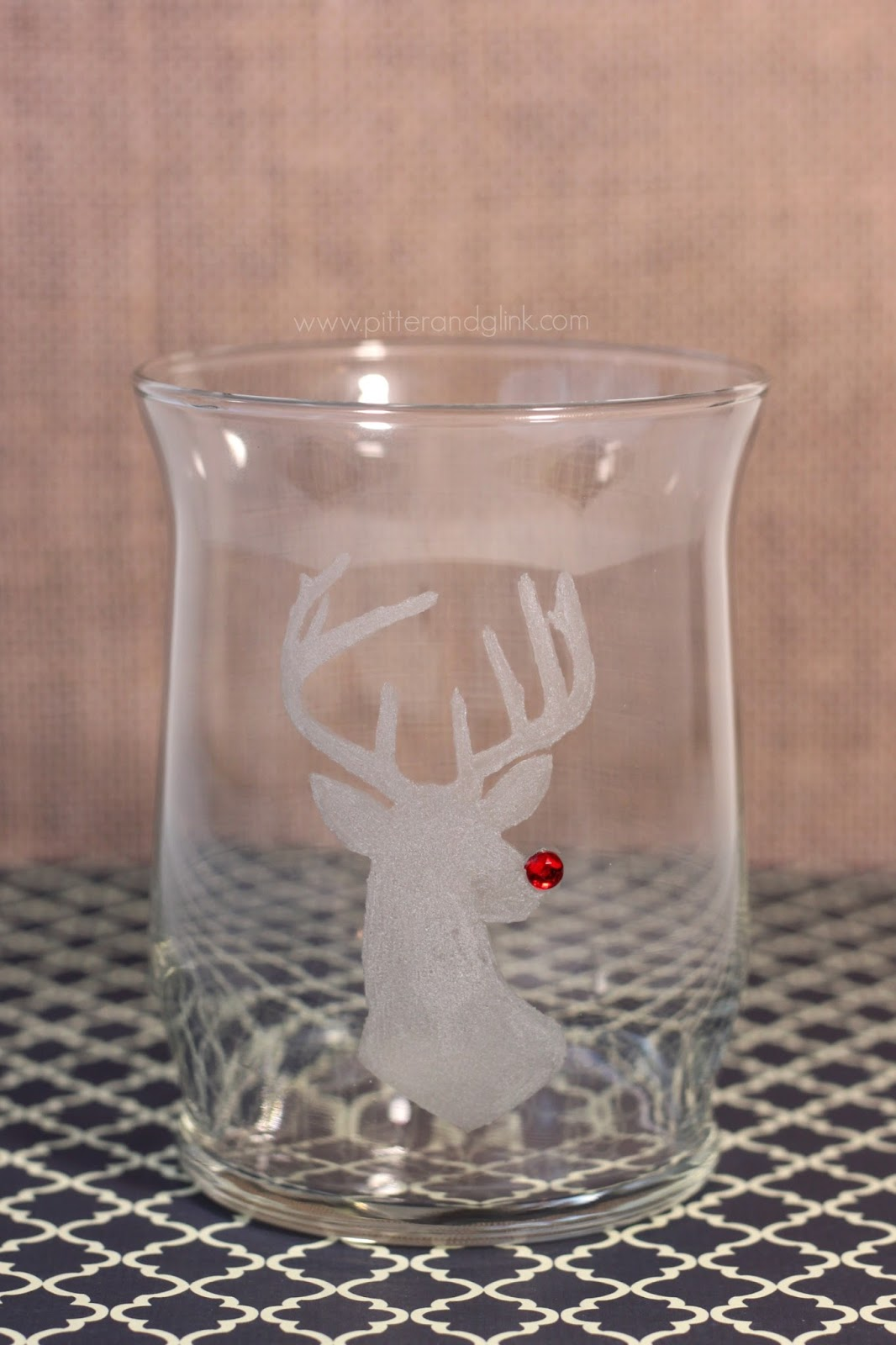pitterandglink rudolph engraved glass candle holder