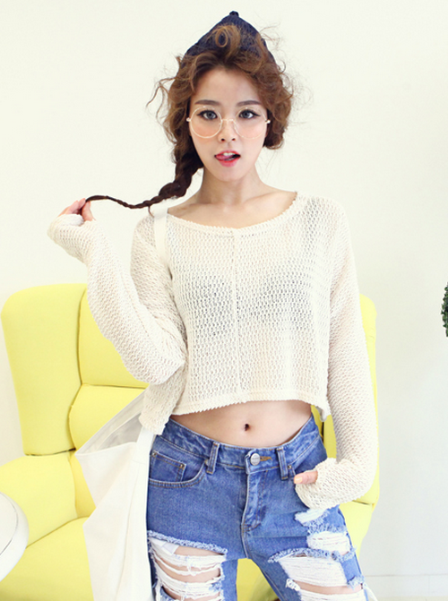 [Dabagirl] Cable-Knit Crop Top | KSTYLICK - Latest Korean Fashion | K-Pop Styles | Fashion Blog