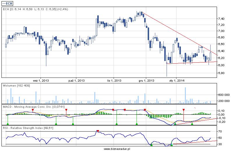 Wykres dzienny z 6 miesięcy - Echo Investment z 31 stycznia 2014