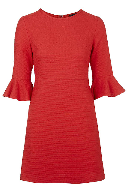 red flared sleeve dress