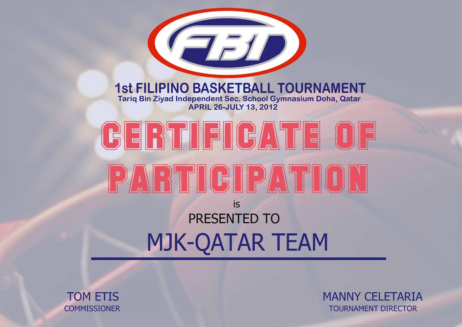 ... Sample Certificate Of Participation Filipino Basketball Tournament  Certificate Of Participation All ...