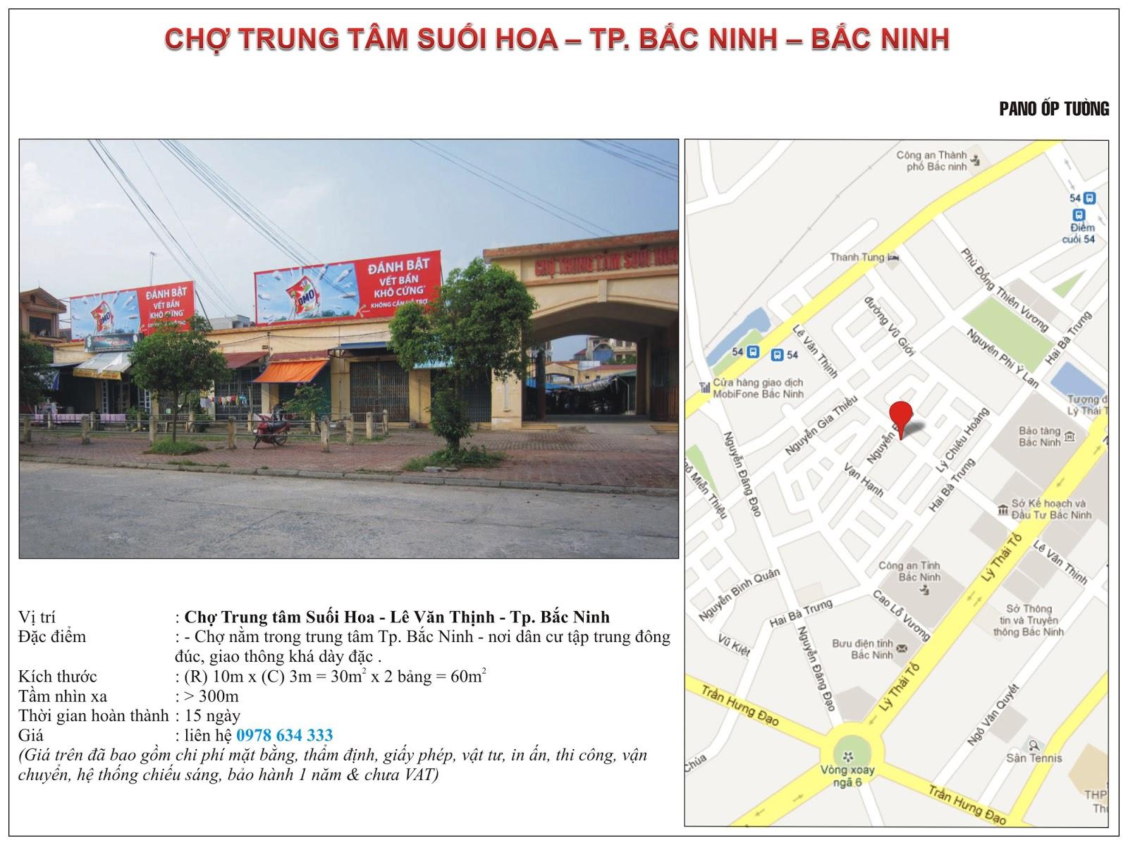 Quảng cáo tại chợ trung tâm Suối Hoa - Bắc Ninh