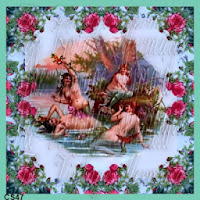 victorian mermaids bathing in rose pond by vintagemermaidsfabricblocks.com