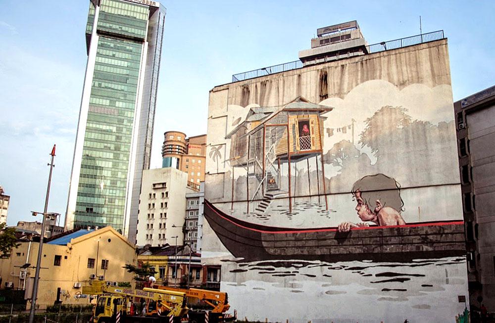 Nice Ernest Zacharevic Kuala Lumpur Street Art
