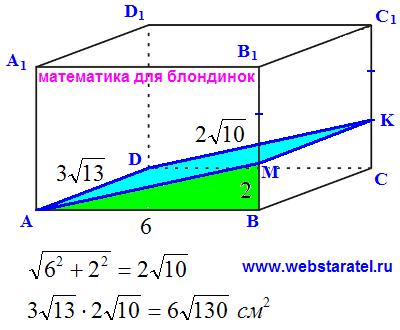 Прямоугольный параллелепипед и плоскость. Решение задачи. Математика для блондинок.