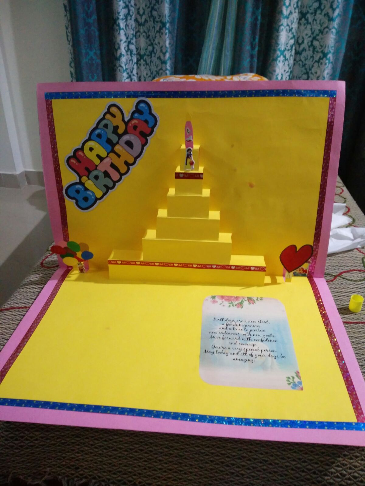 How to prepare popup card for birthday home decoration for Home decoration with waste material