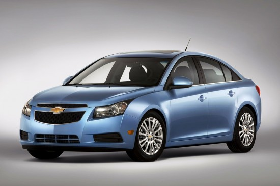 Front 3/4 view of blue 2012 Chevrolet Cruze ECO