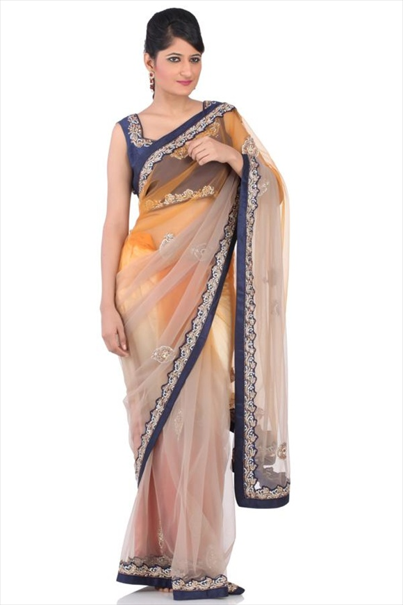 Taffy Brown Net Saree