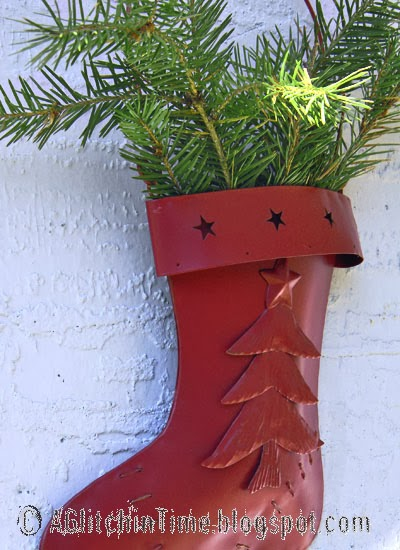 Metal Stocking with greenery