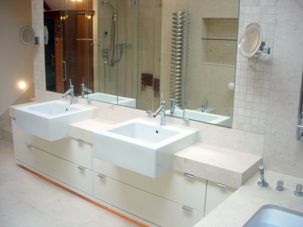 Lovely Vanity top bath surround floor walls mosaic walk in shower
